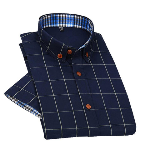 New British style Men's Short Sleeve Shirt Plaid Casual Summer Shirts Slim Fit Men Cotton Man Fashion Shirt