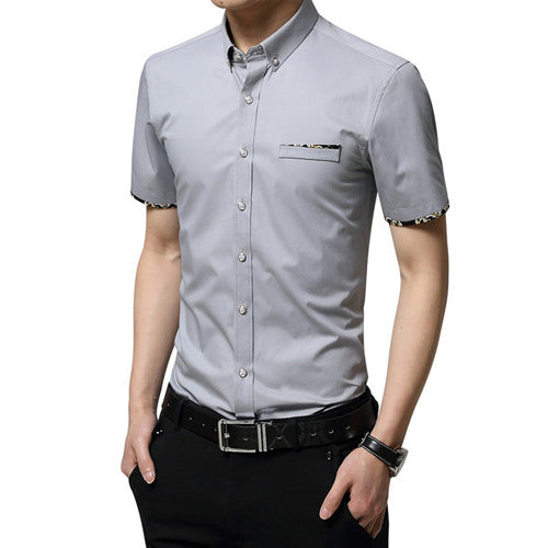 New British style Men's Short Sleeve Shirt Plaid Casual Summer Shirts Slim Fit Korean Men Cotton Man Fashion Shirt YN588