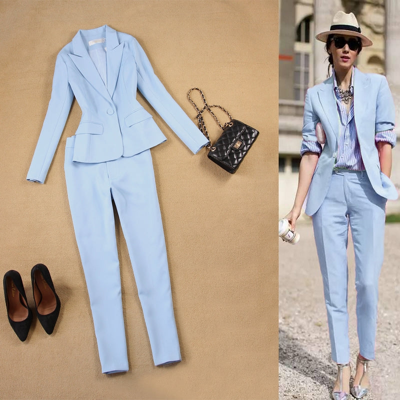271dae9b7fc The New Fall fashion suit suit female career suit jacket and long sections  temperament casual two ...