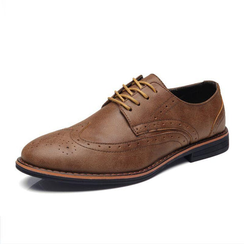 Luxury Leather Brogue Mens Flats Shoes Casual British Style Men oxfords Fashion Men Shoes Brand Dress Shoes For Men