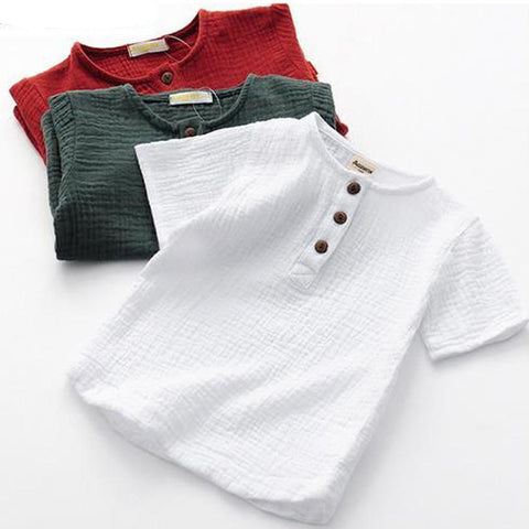 Linen Cotton Baby Boy Girl Summer T Shirts New Toddler Comfortable Tops Tee Children Clothing Kids Button 90-140CM Height
