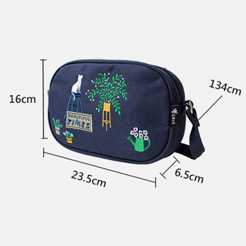 Flower Princess Brand Girls Canvas Embroidery Shoulder Bags Teenager Winter Girl Crossbody Messenger Bag