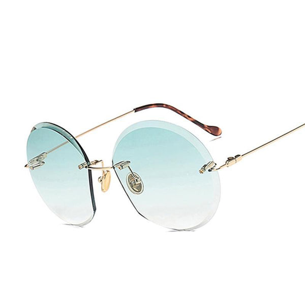 New Arrivals Women Rimless Sunglasses Classic Brand Designer Gradient Sun Glasses For Women Vintage Round gafas oculos