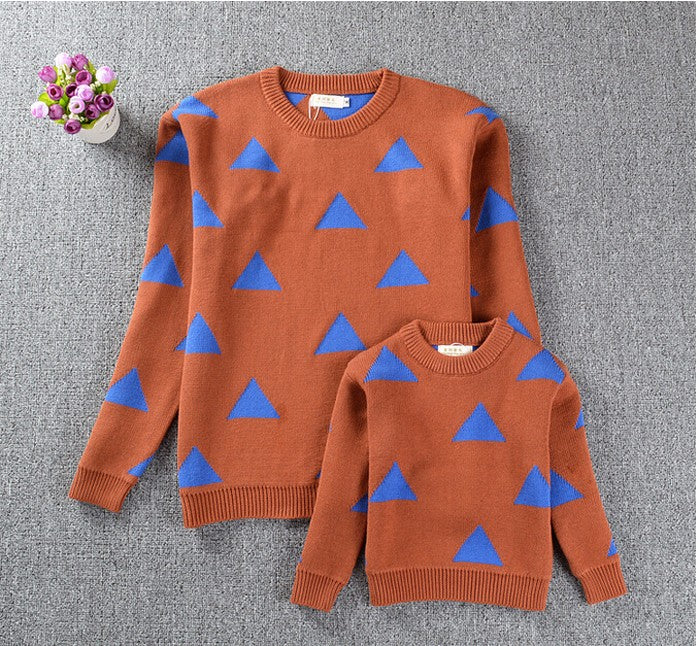 Family Spring Mother Daughter Triangle Sweaters High quality Mother and Daughter Clothes Fashion Sweater Children's Sweater