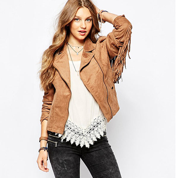 women's hot sale fashion basic jackets button pockets tassel suede bomber jackets NEW winter coats Brown Tassel outerwear