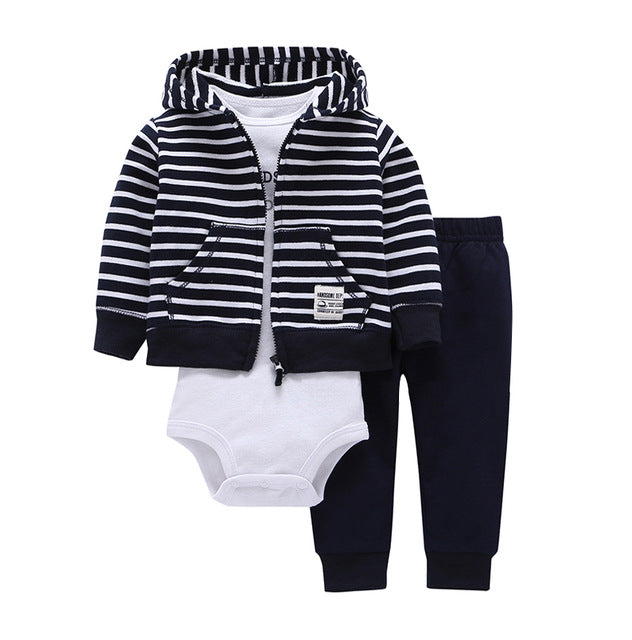 baby boy clothes rockets print tracksuit hooded coat +Long sleeve romper+pants clothing set 2018 3pcs baby girl spring costume