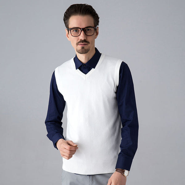 Men Sleeveless Sweater Vest Classic Slim Business Men's Knitted Sweater Autumn Winter Brand Male Sweater