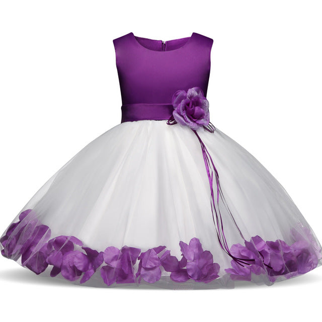 Childrens Clothes 5 6 7 Years Birthday Party Girls Dress With Flowers Tulle Kids Princess Dresses