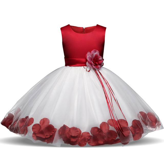 Childrens Clothes 5 6 7 Years Birthday Party Girls Dress With Flowers