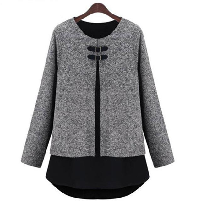 sweaters girls casual spring oversize gray pullovers woman o neck