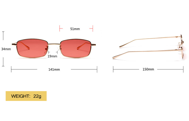 small rectangle sunglasses men yellow red lens metal frame black square sun glasses for women 2018 uv400