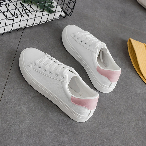 Sneakers for Women All White Casual Shoes Lace Pink Green Sneakers All Match Chaussure Femme Zapatillas Lona Mujer