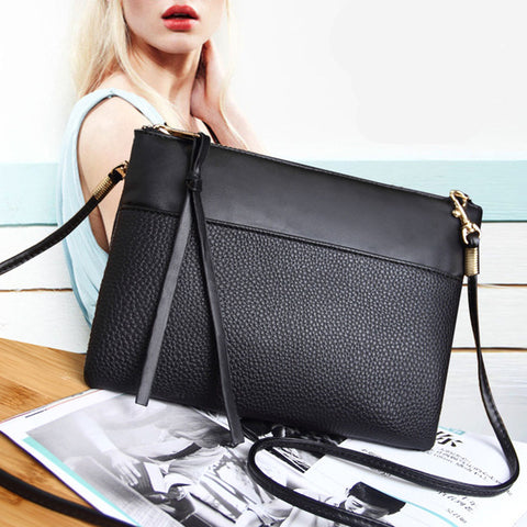 Women's Clutch Bag Simple Black Leather Crossbody Bags Enveloped Shaped Small Messenger Shoulder Bags Big Sale Female Bag