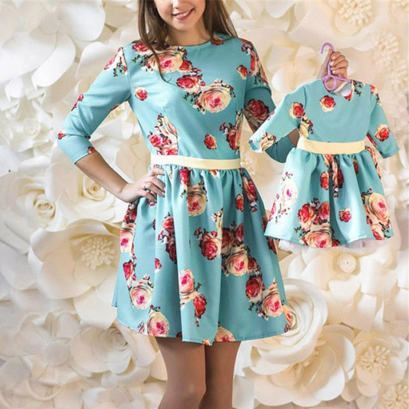 JOHNKART.COM.  25.37 USD. Mother Daughter floral print Dress Family  Matching Outfits Fashion Mommy and Me Long Dress Family Fitted ... 88e9fadfacd8