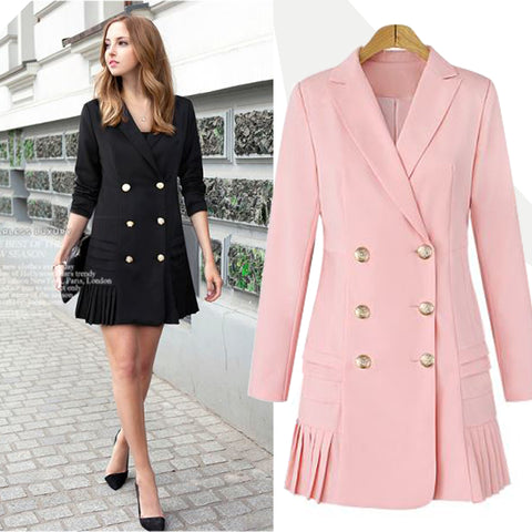 Double Breasted Women Blazers and Jackets Autumn Pleated Long Suit Coat  Women Outwear Blazer Feminino Plus b8aed85636bf