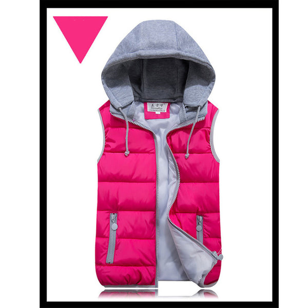 2018 women autumn winter vest pink black warm cotton wadded hooded with zipper waistcoat plus size 3XL casual short jacket