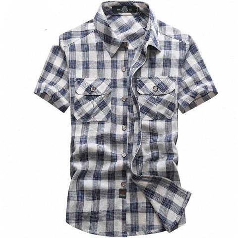 NEW Man's Casual shirt Summer Fashion plaid shirt 5XL Short Sleeves Shirts Men Lapel Business Shirts Male Masculine Tops