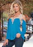 Women Blouse Shirt Top Solid Sexy Floral Lace Off Shoulder Blue Shirt Streetwear Long Sleeve Loose Plus Size 5xl Casual Top