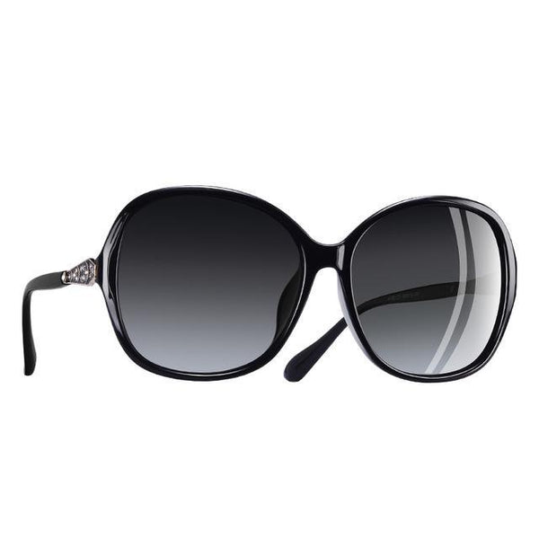 Classic Polarized Sunglasses Women Oversize Frame Gradient Lens Rhinestone Sunglasses A102
