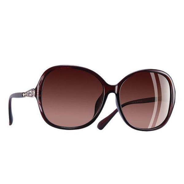 Classic Polarized Sunglasses Women Oversized Frame Gradient Lens Rhinestone Sunglasses A102