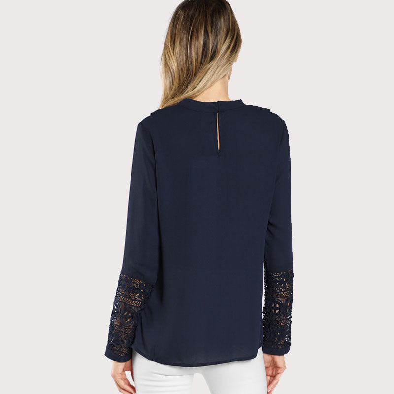navy Blue Ruffle Blouse Elegant Contrast Lace Button Round Neck Long Sleeve Spring Keyhole Back Insert Lace Ruffle Top