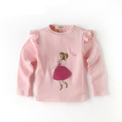 Kids Girls Sweet Pink Children 's Long - Sleeved Autumn Spring T Shirt Bottom Child Kids Girls Pattern Embroidery Shirt