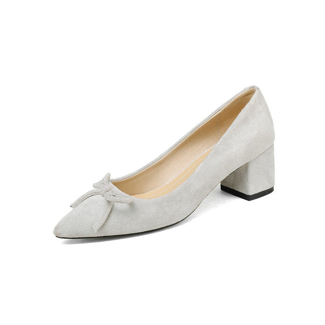 Shoes Women Flock Square Med Heel Platform Women Pumps Gray Pointed Toe Fashion Ladies Wedding Woman Shoes Size 34-43