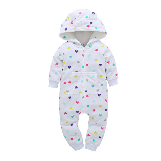 45ca57da4c16 cute baby rompers Green wave point love fleece lining baby hooded ...