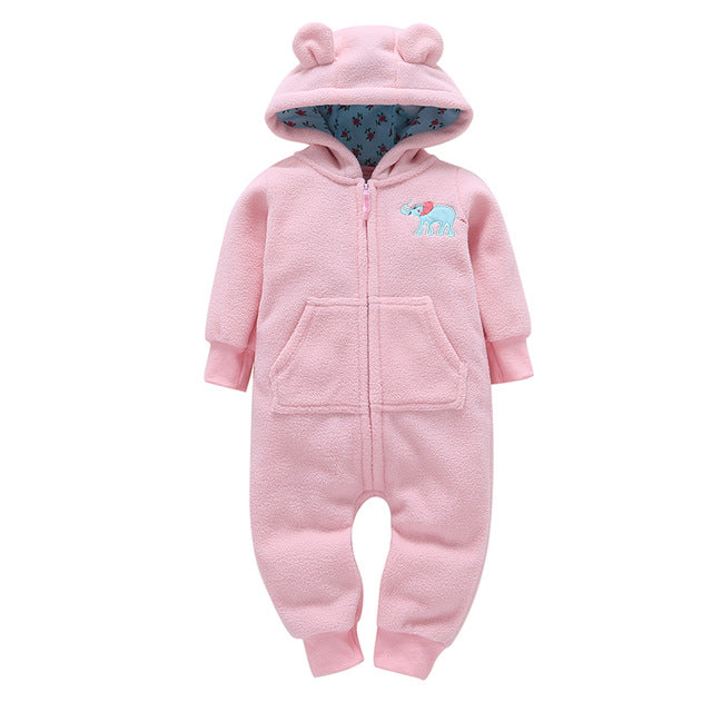 22bbd7203b8 ... cute baby rompers Green wave point love fleece lining baby hooded  jumpsuit infants newborn clothing ...