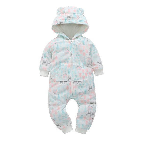 cute baby rompers Green wave point love fleece lining baby hooded jumpsuit infants newborn clothing ,kids outwear