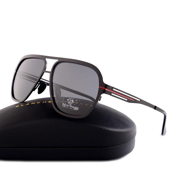 High Quality Fashion Polarized sunglasses Men UV400 Pilot Sunglass Stainless Steel Sun Glasses With Box