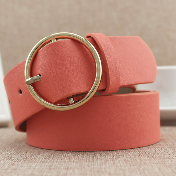Fashion Classic round buckle Ladies wide belt Women's 2018 design high quality  female casual leather belts for jeans kemer F110