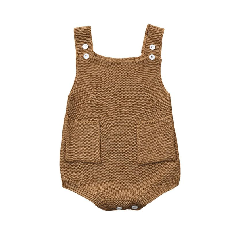 e23daae92 2018 Fashion Autumn baby boys clothes Pocket Knitted baby Rompers ...