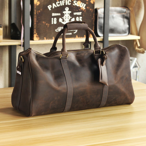 Vintage High Grade Genuine Leather Men Handbag Pure Handmade Crazy Horse Leather Big Volume Men's Travel Bags