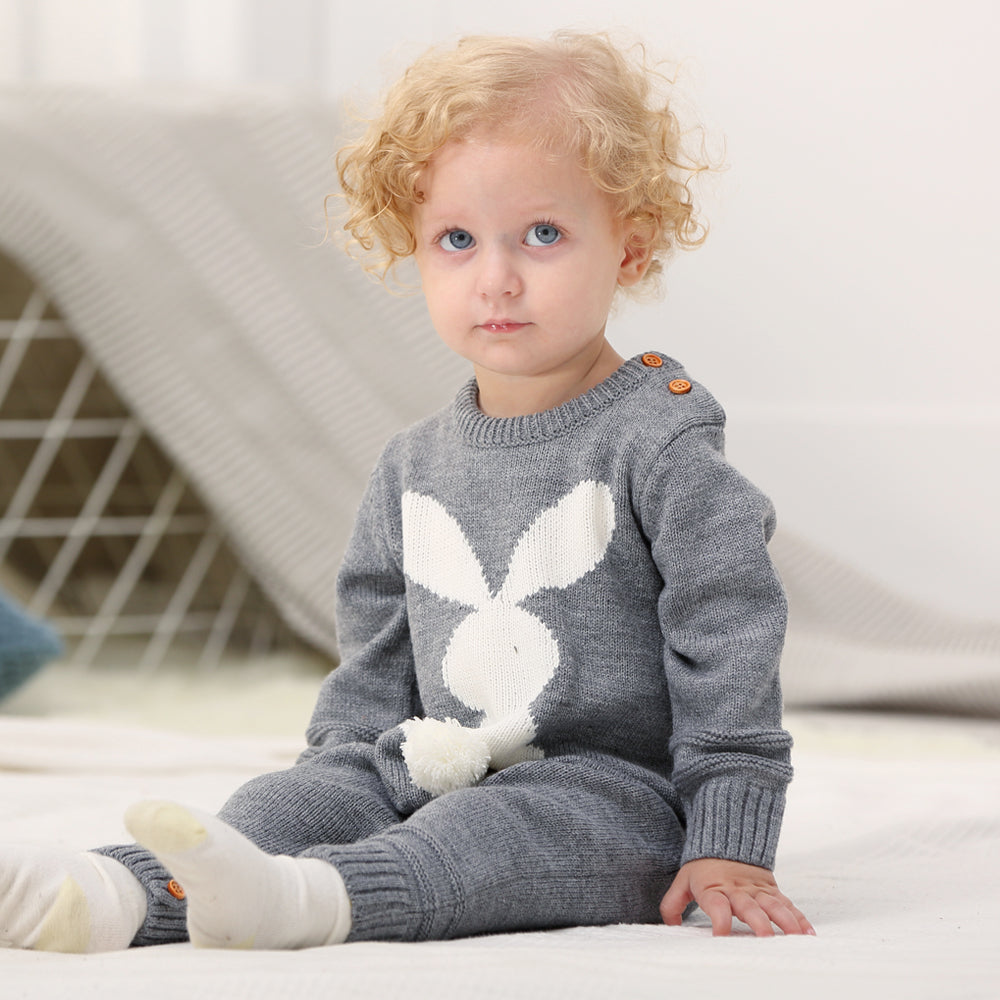 904e3bb4f7f89 Baby Girls Rompers 3D Rabbit Knitted Toddler Boys Jumpsuits Long Sleeve  Newborn Infant Bunny Onesie Outfits ...