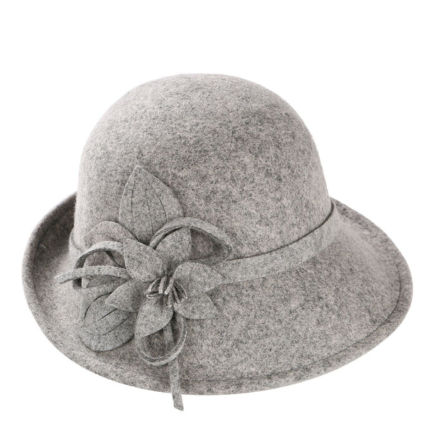 England Style Ladies Wool Fedoras Hats Black White Flower Wool felt Hat Fashion Women Church maison michel Cloche Hat Cap