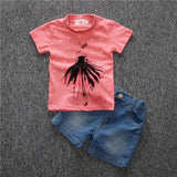 Sets of clothes for spring suit boy's long sleeve plaid shirt + jeans + Vehicle Printing 3 pcs set  BCS203