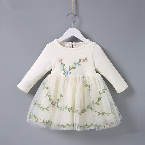 Spring Baptism princess birthday party flowers grass embroidery baby girls dress children clothes ball gown pink beige 0-2T