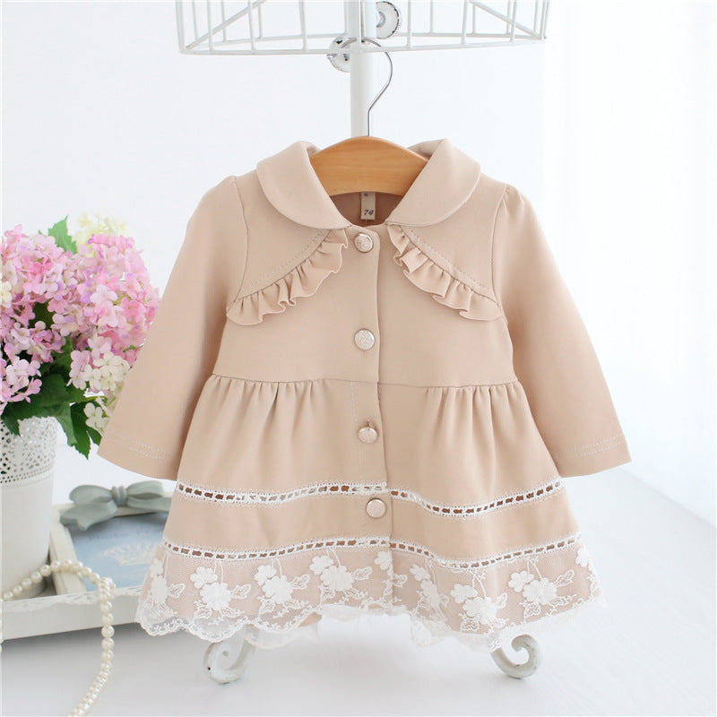 38af95671 Girls Trench Coat Spring Lace Kids Jackets Baby Girls Clothes ...