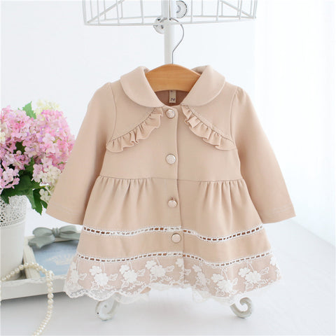 Girls Trench Coat Spring Lace Kids Jackets Baby Girls Clothes Fashion Infant Toddler jacket Outwear 3 Color 0-2T