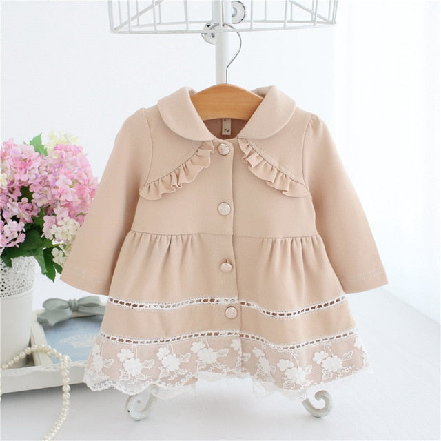 92f693fc5 Girls Trench Coat Spring Lace Kids Jackets Baby Girls Clothes ...