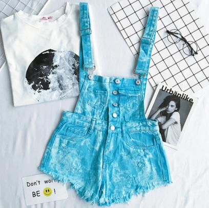 New Collection Summer Loose Women Denim Jumpsuit High-waisted Ripped Hole Wavy Edge Jumpsuit Fashionable Suspenders Pants