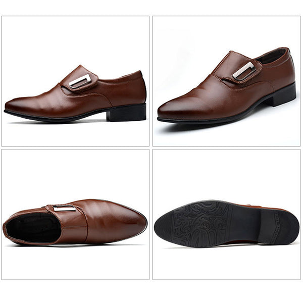 New Men's Shoes Brand Single Buckle Slip On Black Brown Man Office Party Wedding Dress Shoes