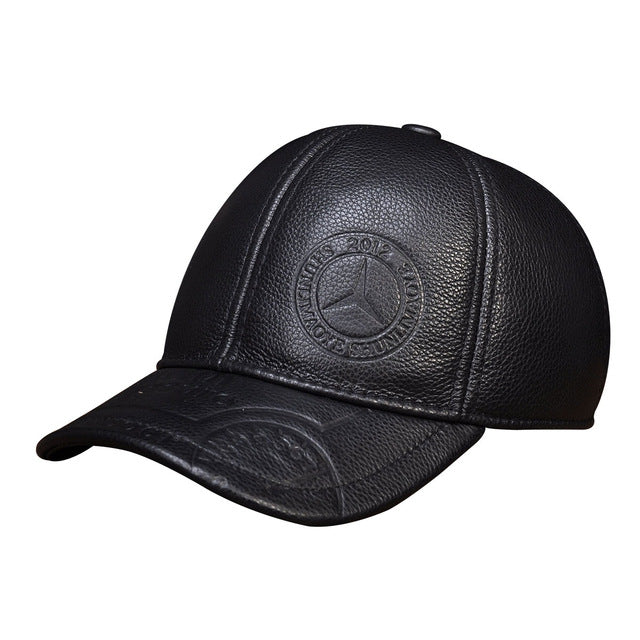 Spring genuine leather men baseball cap hat  high quality men's real leather adult solid adjustable snapback earsflap hats