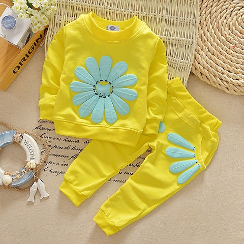 2018 New 2pcs spring autumn children clothing set baby girls sports suit sunflower casual costume DT0262