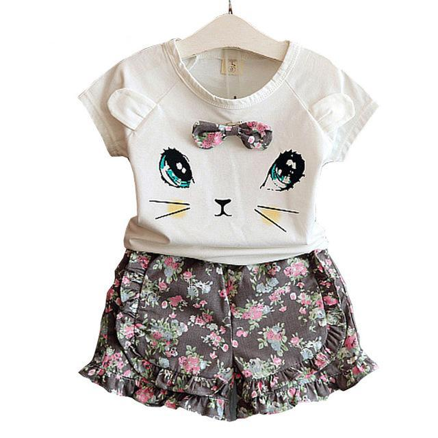 Baby Girl Clothes Fashion Cartoon Girls Summer Set Clothes Baby Suits Kids T Shirt +Pants Children Clothing Set