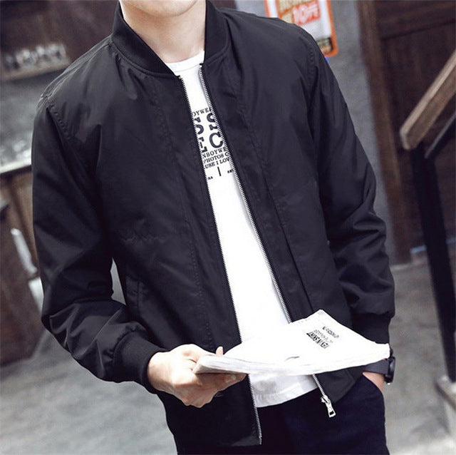 2018 Spring Autumn Casual Solid Fashion Slim Bomber Jacket Male