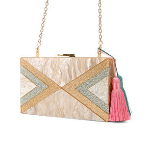 Nude Silver Gold Glitter Striped Geometric Tassel Acrylic Evening Bag Travel Messenger Shoulder Acrylic Clutch Box Purse Bags