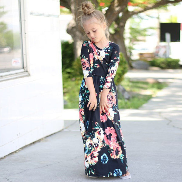 Girls Dresses Autumn Cute Baby Girls Hit Color Long Dress Children clothes Casual Cotton Beachwear Maxi Dress fit 2-10T