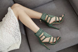 New Spring Women Pumps Fashion Gladiator Thin Heels Flock High Heels Peep Toe Crystal Rhinestones Women Pumps Plus Size